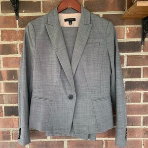 Ann Taylor suit set grey work career blazer pants
